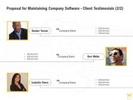 Proposal For Maintaining Company Software Client Testimonials L2150 Ppt Images