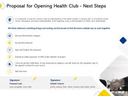 Proposal For Opening Health Club Next Steps Ppt Powerpoint Presentation Template