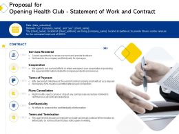 Proposal For Opening Health Club Statement Of Work And Contract Ppt Powerpoint Layouts