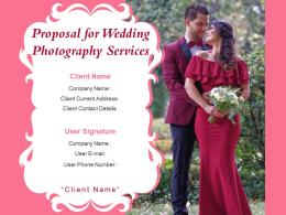 Proposal For Wedding Photography Services Powerpoint Presentation Slides