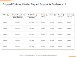 Proposed Equipment Models Request Proposal For Purchase Purpose Ppt Powerpoint Presentation Icon