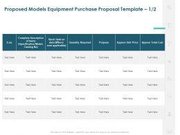 Proposed Models Equipment Purchase Proposal Quantity Ppt Model Slides