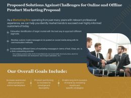 Proposed Solutions Against Challenges For Online And Offline Product Marketing Proposal Ppt Grid