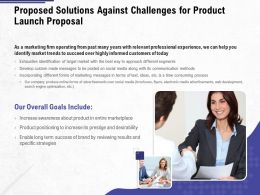 Proposed Solutions Against Challenges For Product Launch Proposal Ppt Powerpoint Summary Icons
