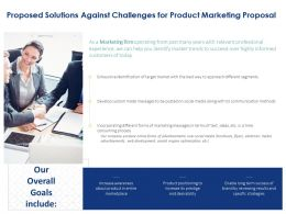 Proposed Solutions Against Challenges For Product Marketing Proposal Ppt Structure