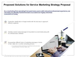 Proposed Solutions For Service Marketing Strategy Proposal Ppt Powerpoint Presentation Good