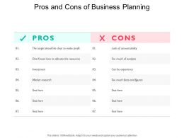Pros And Cons Of Business Planning