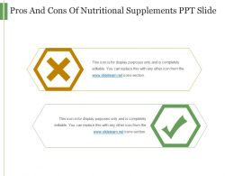 Pros And Cons Of Nutritional Supplements Ppt Slide