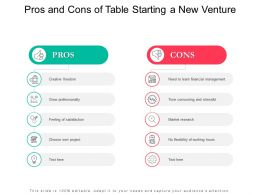 Pros And Cons Of Table Starting A New Venture