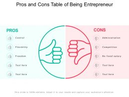 Pros And Cons Table Of Being Entrepreneur