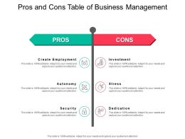 Pros And Cons Table Of Business Management