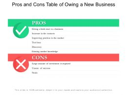 Pros And Cons Table Of Owing A New Business