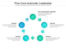Pros Cons Autocratic Leadership Ppt Powerpoint Presentation Outline Visual Aids Cpb