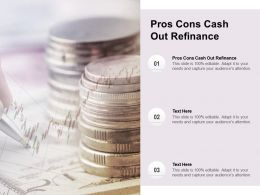 Pros Cons Cash Out Refinance Ppt Powerpoint Presentation Show Graphics Pictures Cpb