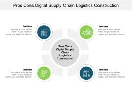Pros Cons Digital Supply Chain Logistics Construction Ppt Infographics Pictures Cpb