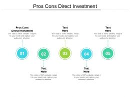 Pros Cons Direct Investment Ppt Powerpoint Presentation Styles Gallery Cpb