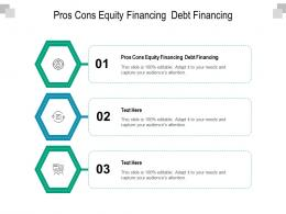 Pros Cons Equity Financing Debt Financing Ppt Powerpoint Presentation Backgrounds Cpb