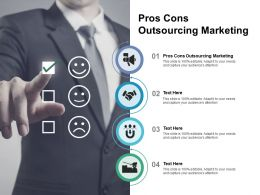 Pros Cons Outsourcing Marketing Ppt Powerpoint Presentation Model Skills Cpb