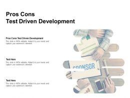 Pros Cons Test Driven Development Ppt Powerpoint Presentation Infographics Cpb