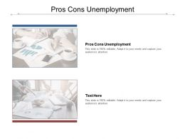 Pros Cons Unemployment Ppt Powerpoint Presentation Gallery Infographic Template Cpb