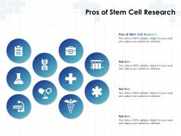 Pros Of Stem Cell Research Ppt Powerpoint Presentation Ideas Visual Aids