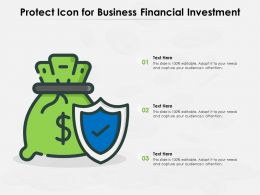 Protect Icon For Business Financial Investment