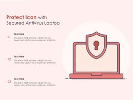 Protect Icon With Secured Antivirus Laptop