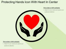 Protecting Hands Icon With Heart In Center