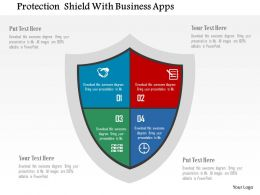 Protection Shield With Business Apps Flat Powerpoint Design