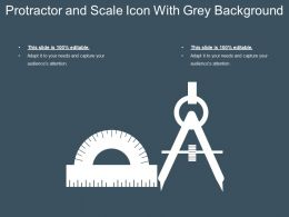 Protractor And Scale Icon With Grey Background