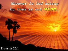 Proverbs 20 1 Whoever Is Led Astray By Them Powerpoint Church Sermon