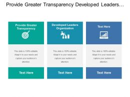 Provide Greater Transparency Developed Leaders Organization