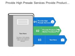 Provide High Presale Services Provide Product Market Feedback