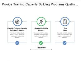 Provide Training Capacity Building Programs Quality Reliability Products