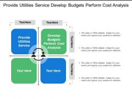 Provide Utilities Service Develop Budgets Perform Cost Analysis