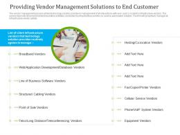 Providing Vendor Management Solutions To End Customer Ppt Graphics
