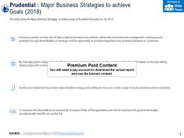 Prudential Major Business Strategies To Achieve Goals 2018