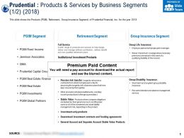 Prudential Products And Services By Business Segments 2018