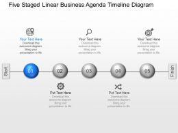 ps Five Staged Linear Business Agenda Timeline Diagram Powerpoint Template