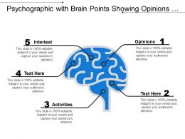 Psychographic With Brain Points Showing Opinions Activities Interest