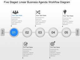 pt Five Staged Linear Business Agenda Workflow Diagram Powerpoint Template