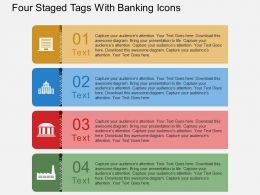 Pt Four Staged Tags With Banking Icons Flat Powerpoint Design