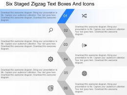 pu Six Staged Zigzag Text Boxes And Icons Powerpoint Template