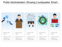 Public Administration Showing Loudspeaker Smart City And Boy Reading