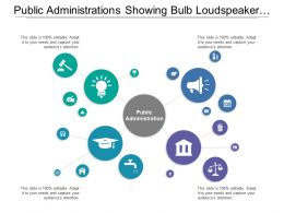 Public Administrations Showing Bulb Loudspeaker And Graduation Hat