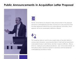 Public Announcements In Acquisition Letter Proposal Social Ppt Slides