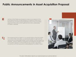 Public Announcements In Asset Acquisition Proposal Ppt Powerpoint Presentation Styles Objects