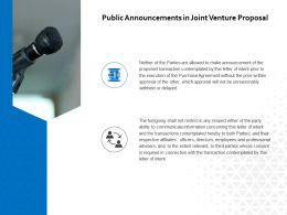 Public Announcements In Joint Venture Proposal Ppt Powerpoint Presentation