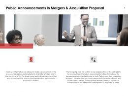 Public Announcements In Mergers And Acquisition Proposal Process Ppt Slides