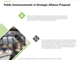 Public Announcements In Strategic Alliance Proposal Ppt Powerpoint Layout